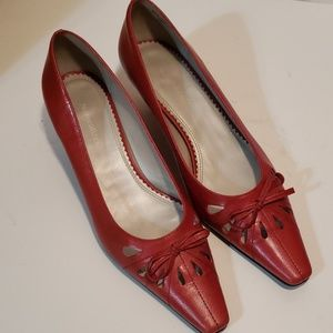 Naturalizer Red Leather Low Heels